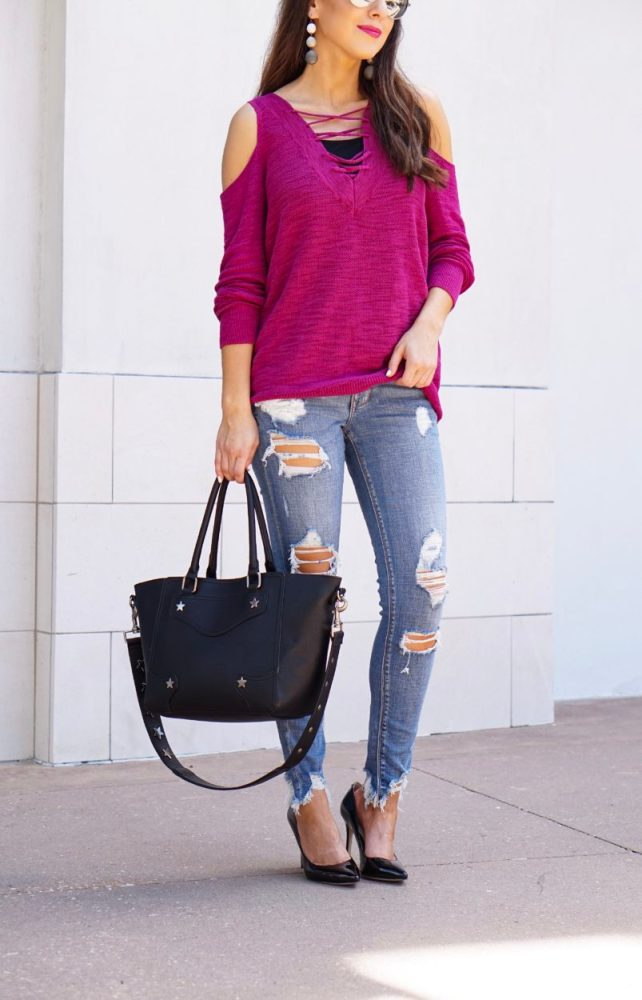 Berry Lace up Tunic Sweater