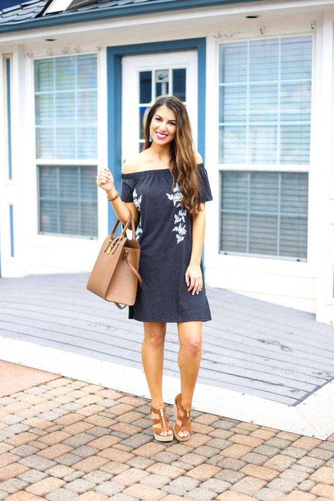 Black Embroidered Off the Shoulder Dress