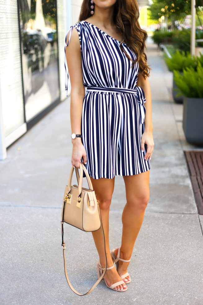 Navy and White Stripe Romper for Petite and Tall Ladies