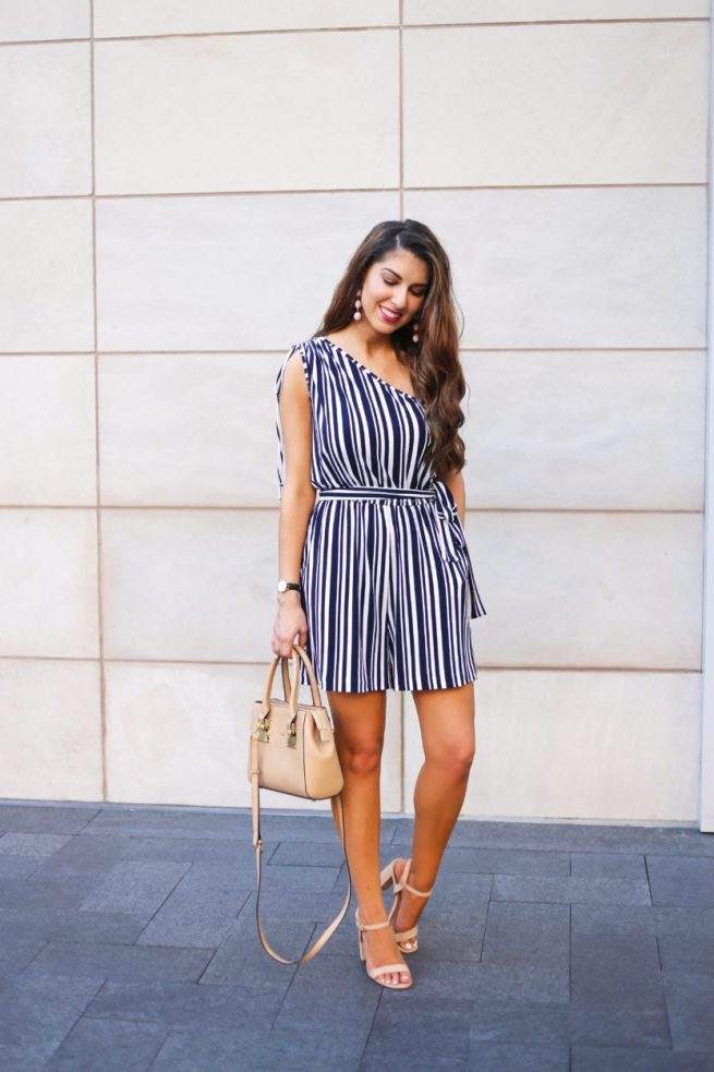 Navy and White Stripe Romper for Summer