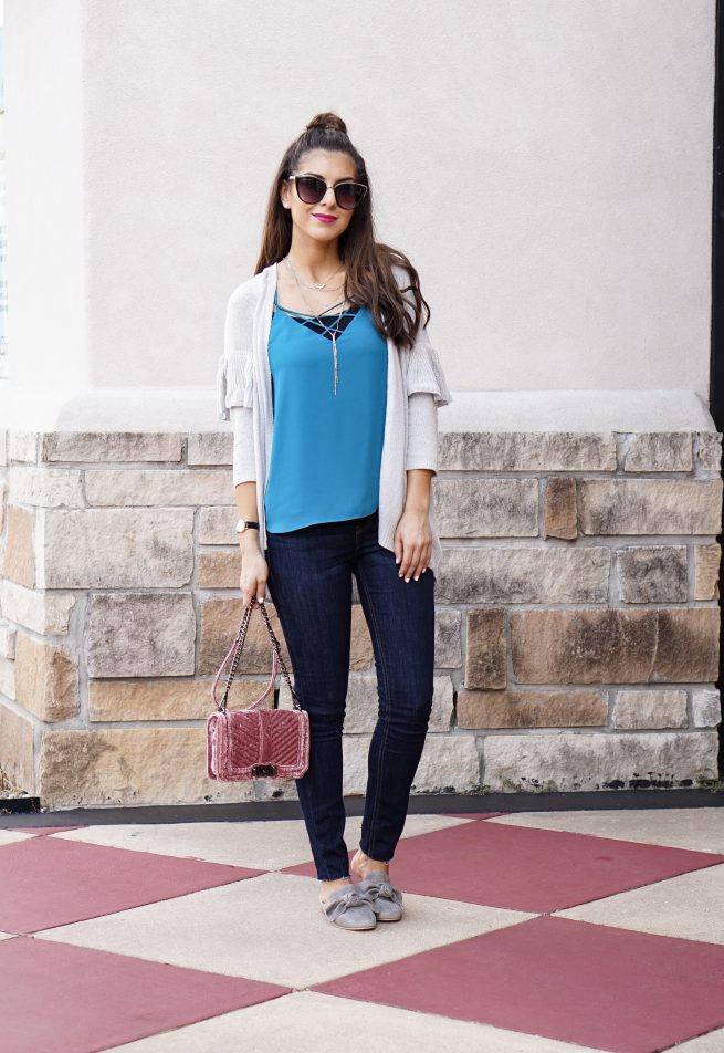 y Ruffle Sleeve Cardigan and Denim Street Style