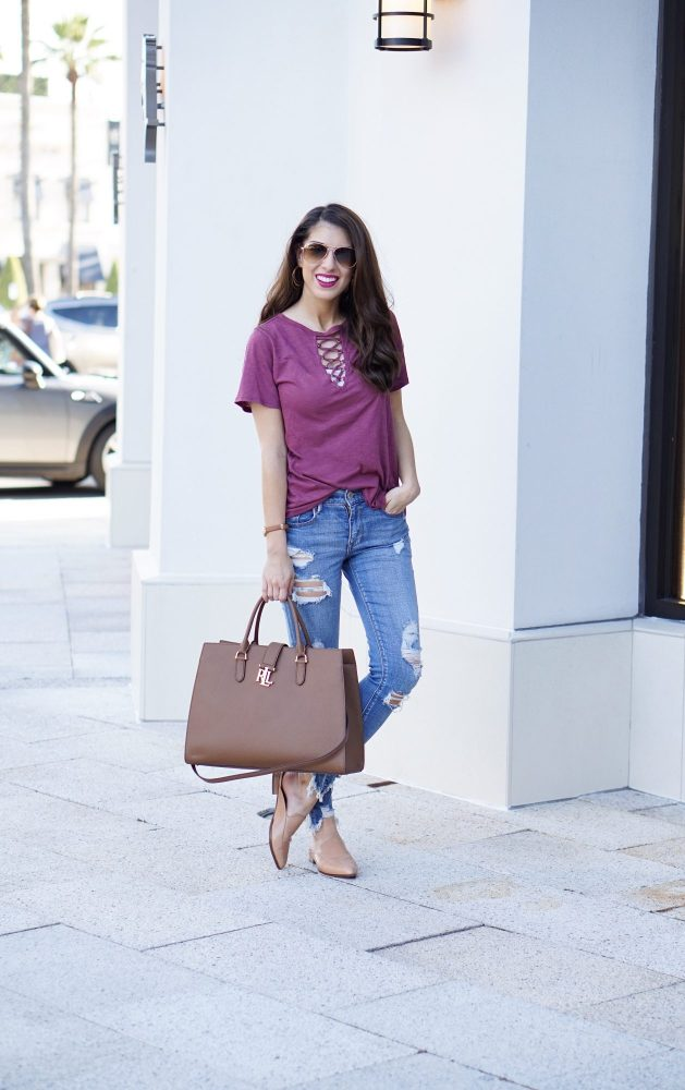 Lace Up Tee and Denim Style for Now and Fall