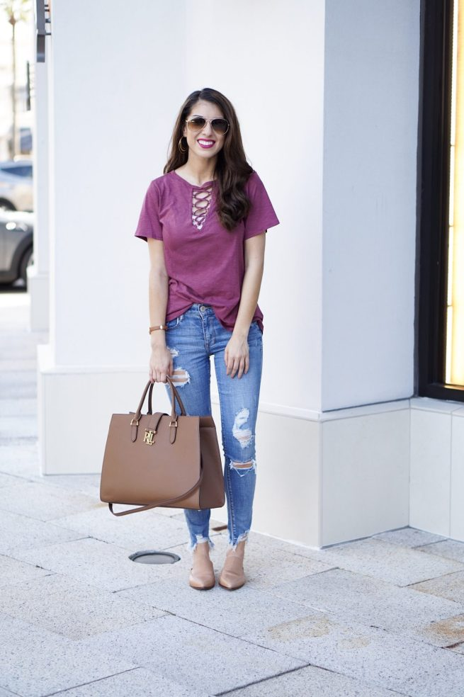 Lace Up Tee for Summer into Fall