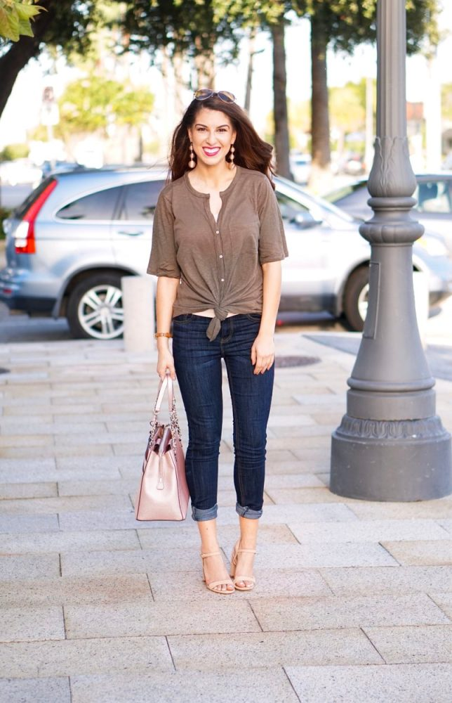 Tie Front Tee and Denim Jeans