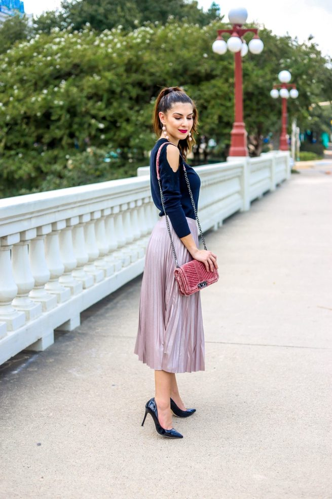 Black Cold Shoulder Sweater and Blush Pink Pleated Skirt