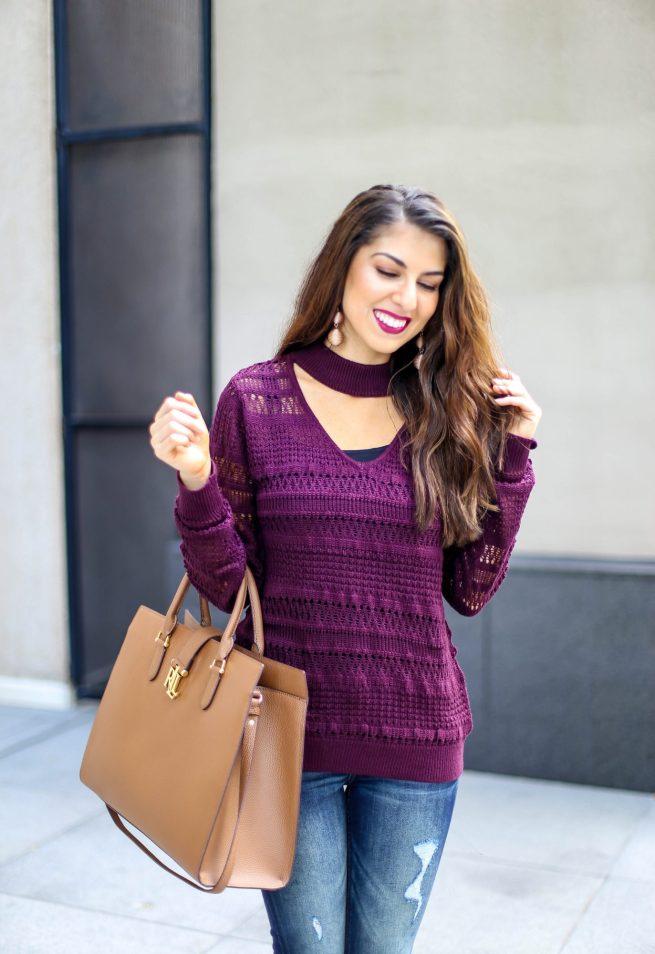 Burgundy V Neck Choker Sweater