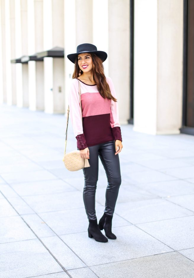 Colorblock Sweater with Faux Leather Leggings