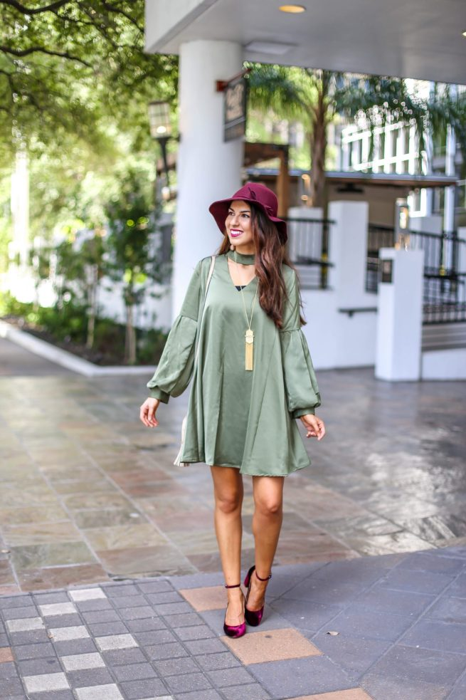 Gorgeous Olive Choker Dress