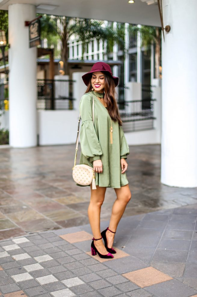 Gorgeous Olive Dress with Bubble Sleeves