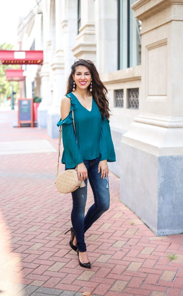 Jewel Tone Ruffle Cold Shoulder Top and Denim Style