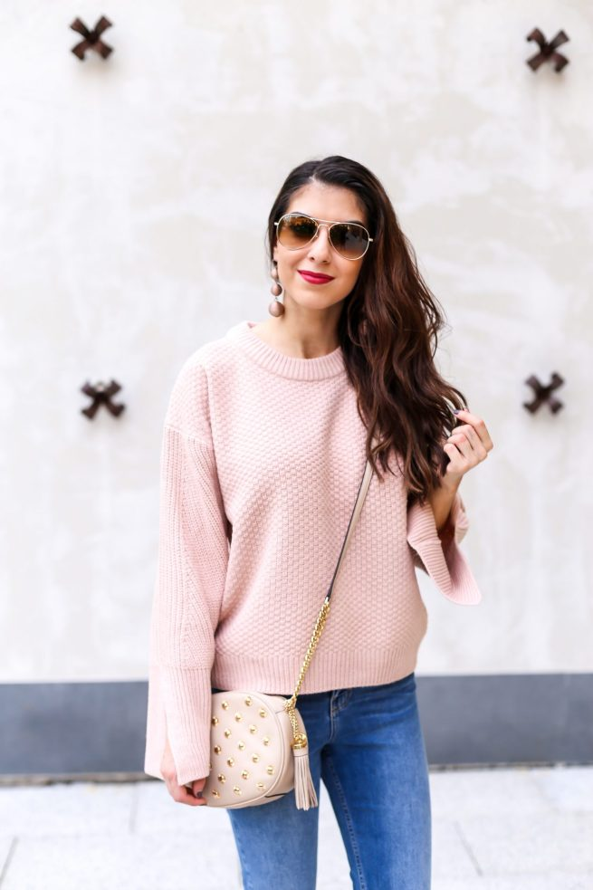 Nude Sweater with Split Sleeves