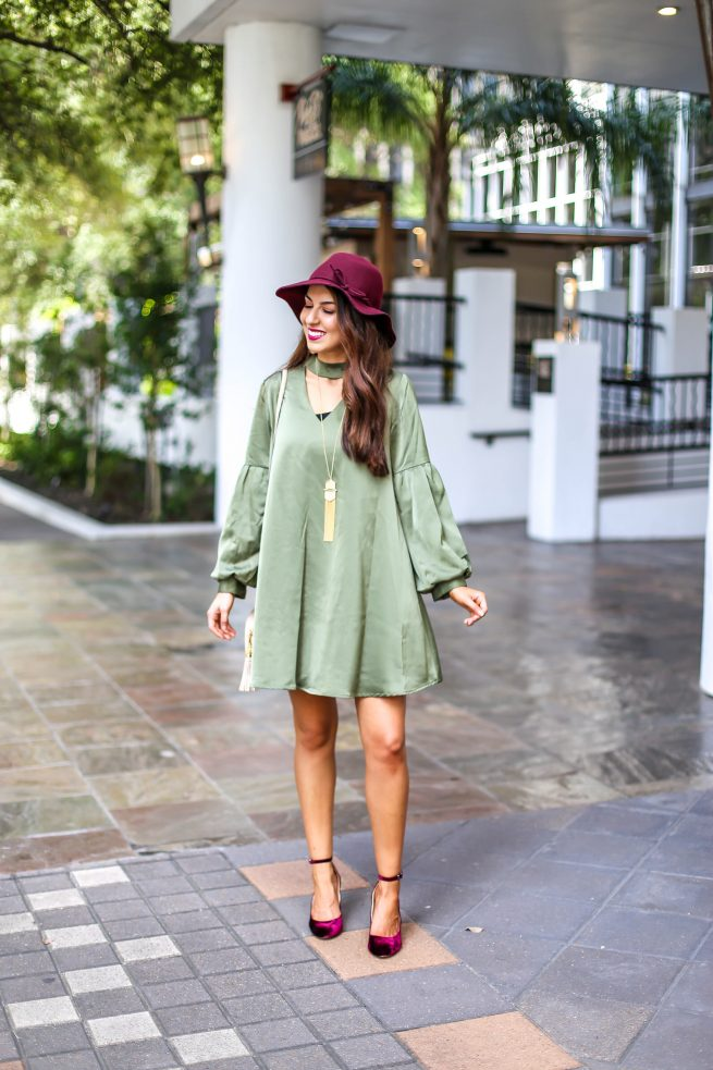 Olive Choker Neck Dress with Bubble Sleeves