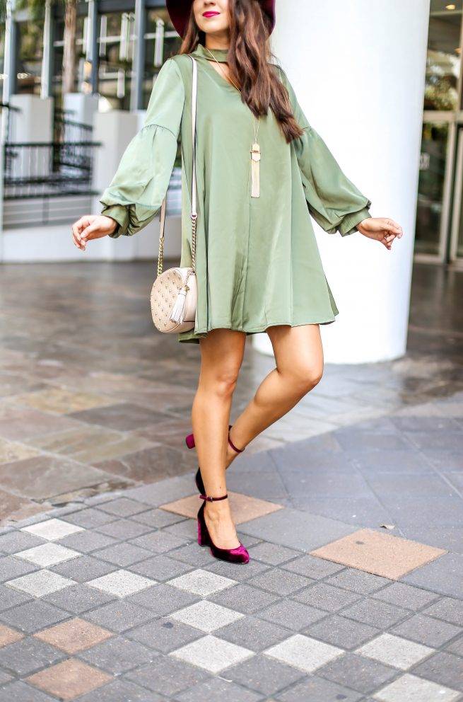 Olive Dress with Cute Bubble Sleeves