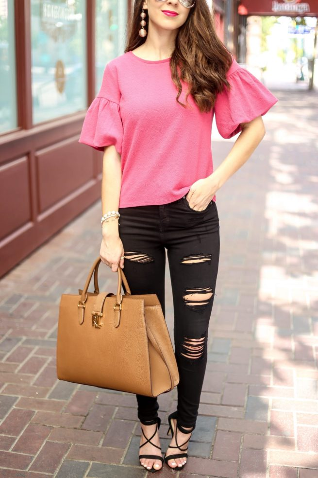Pink Ruffle Sleeve Top and Black Denim Style