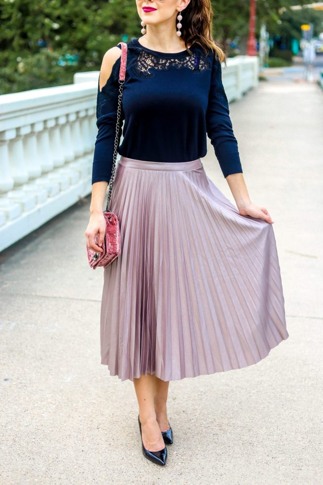 Blush Pleated Midi Skirt