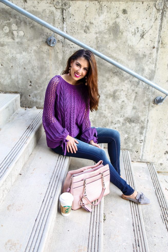 Purple Knit Sweater for Fall
