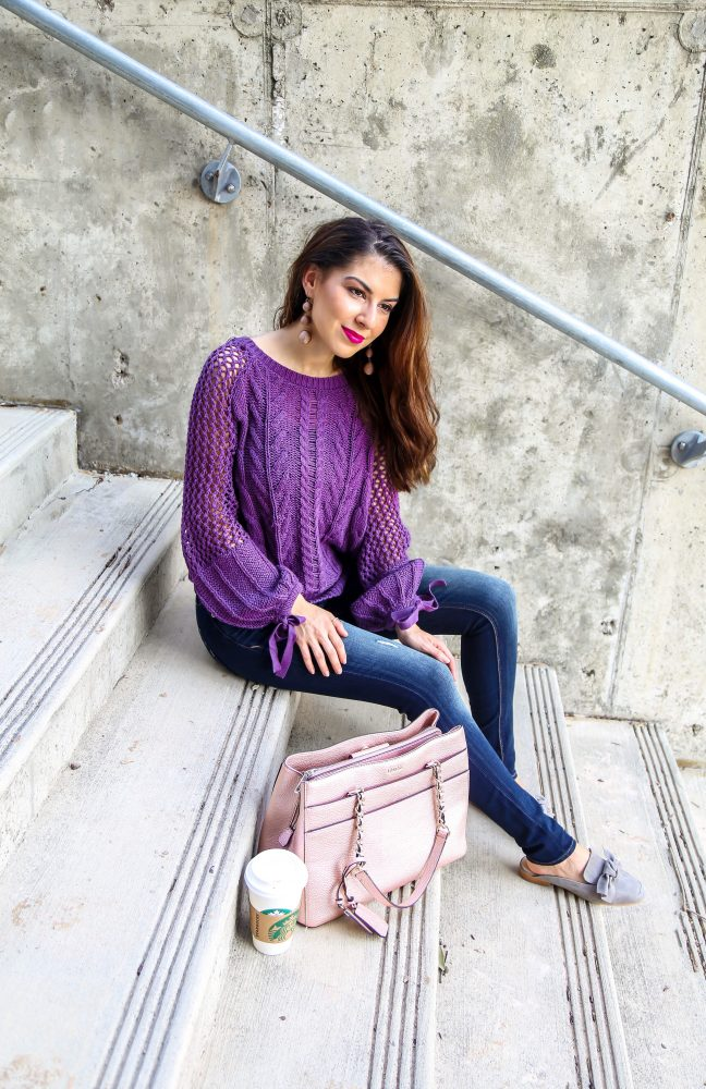Purple Knit Sweater with Bow Tie Sleeves