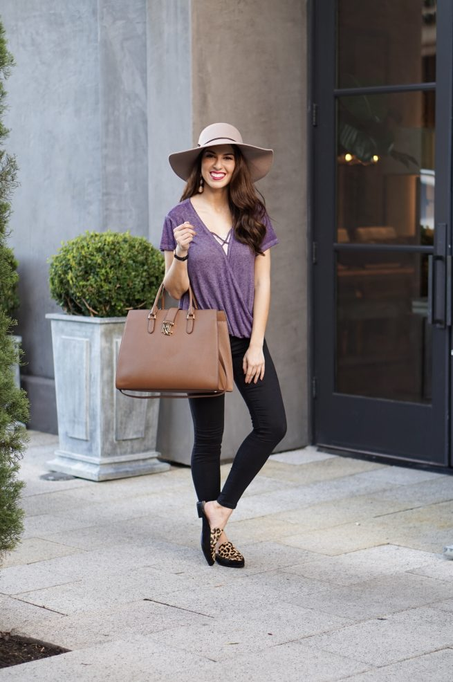 Purple Top and Fall Fashion Style