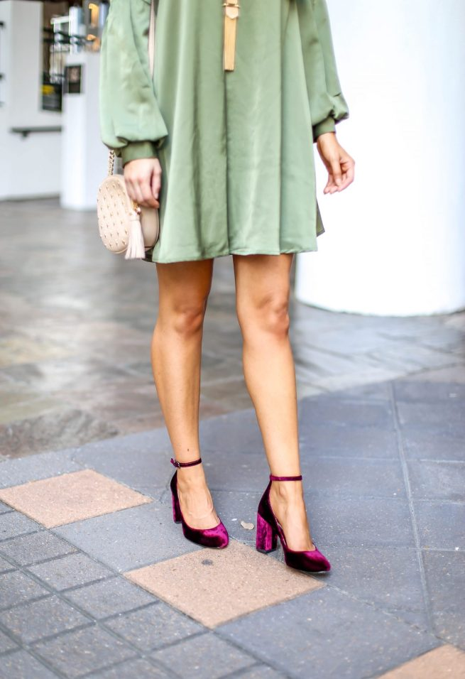 Velvet Ankle Strap Pumps with Olive Dress