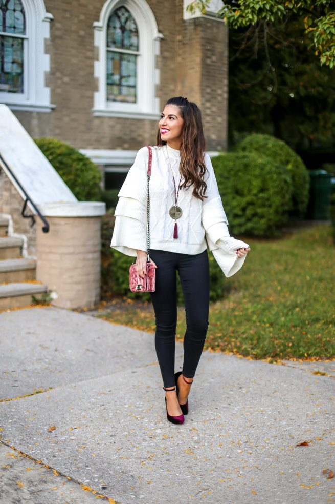 Beautiful Tiered Cable Knit Sweater for Fall