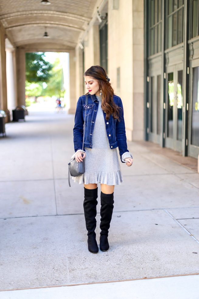 Jacket Over Dress and Over the Knee Boots