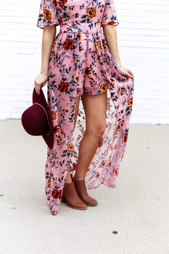 Floral Velvet Maxi Romper with Booties