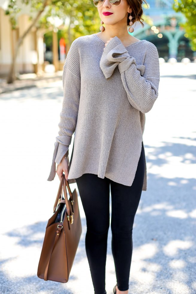 Gorgeous Tunic Sweater with Tie Sleeves