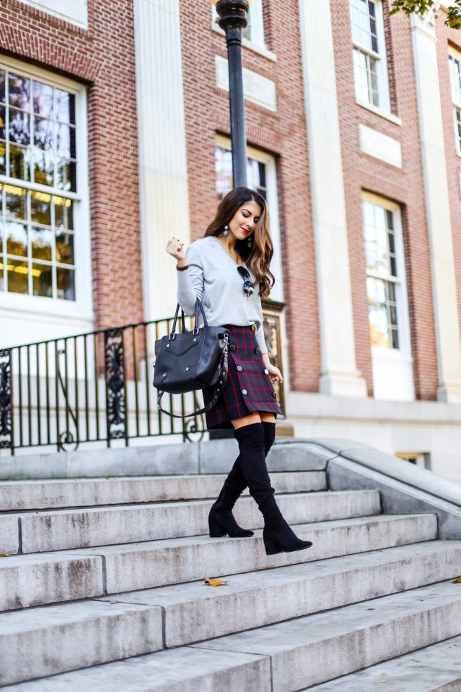 Grey V Neck Sweater with Plaid Skirt for Fall