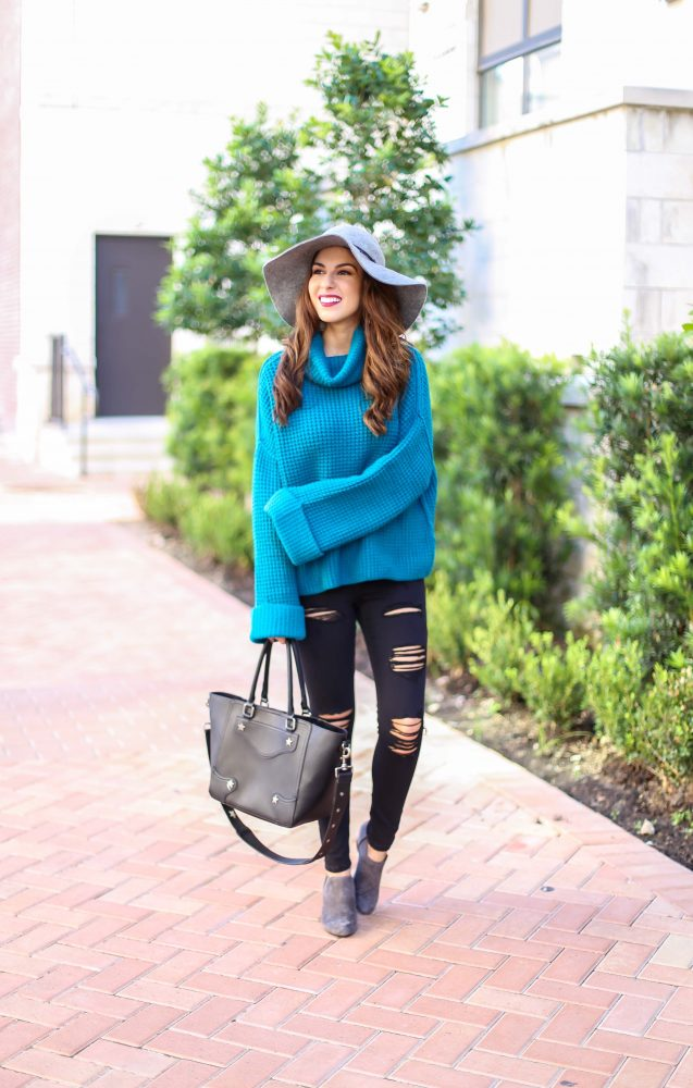 Turquoise Sweater with Black Ripped Jeans