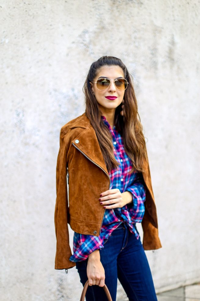 Beautiful Suede Moto Jacket and Flannel Shirt