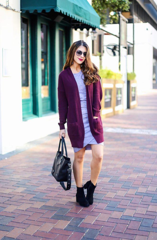 Lavender Body Con Dress with Burgundy Cardigan