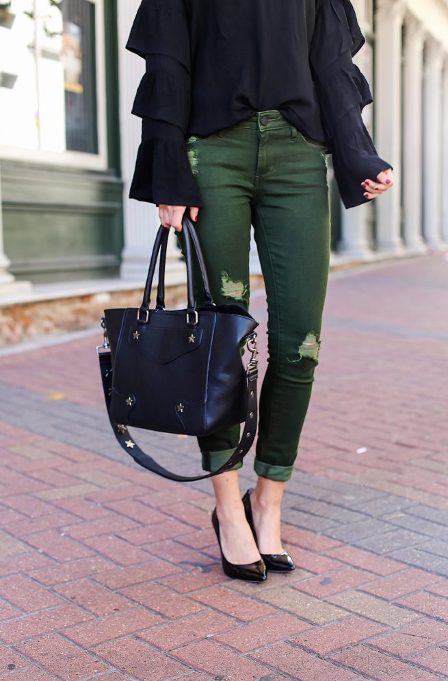 Black Ruffle Top with Olive Jeans