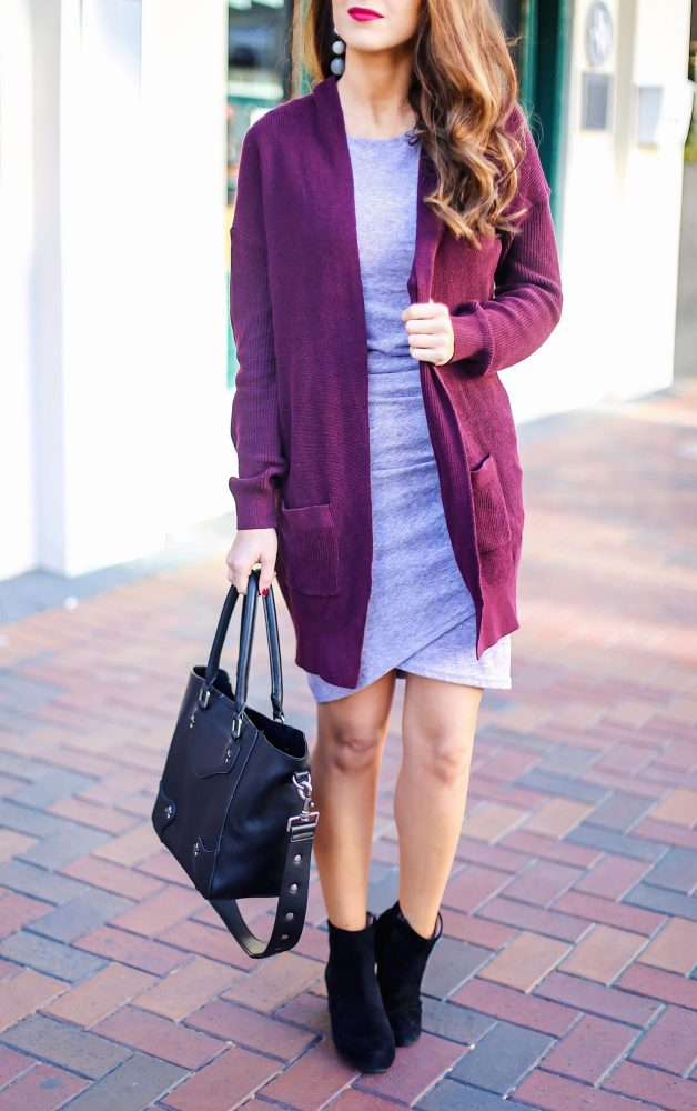 Body Con Dress for Fall with Cardigan