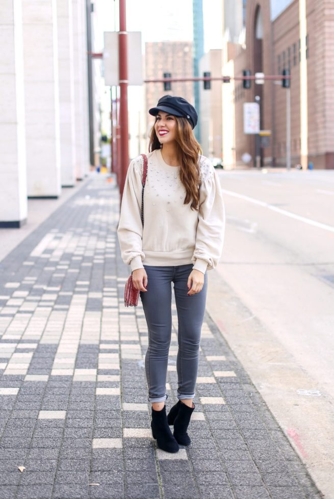 Puff Sleeve Sweatshirt with Grey Jeans