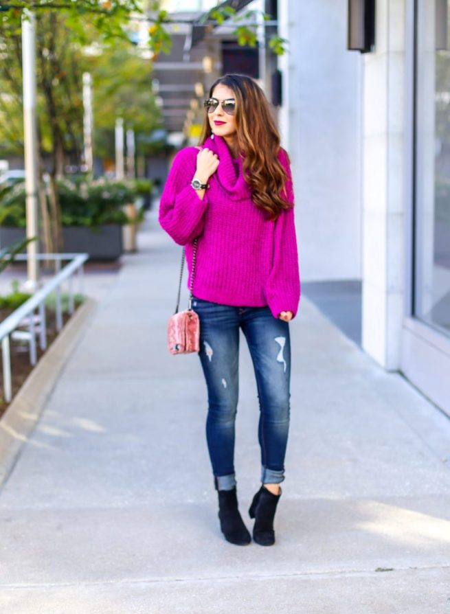 Pink Chenille Cowl Neck Sweater