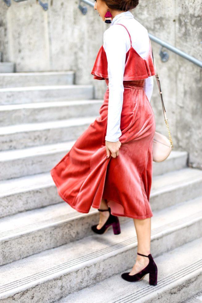 Rust Velvet Midi Dress for the Holidays