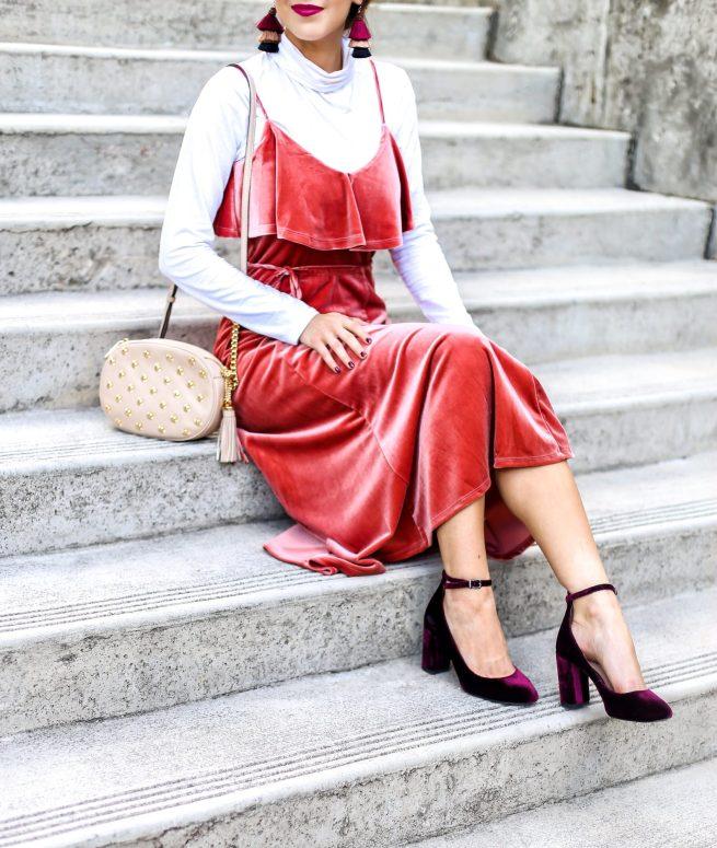 Velvet Midi Dress and Velvet Pumps