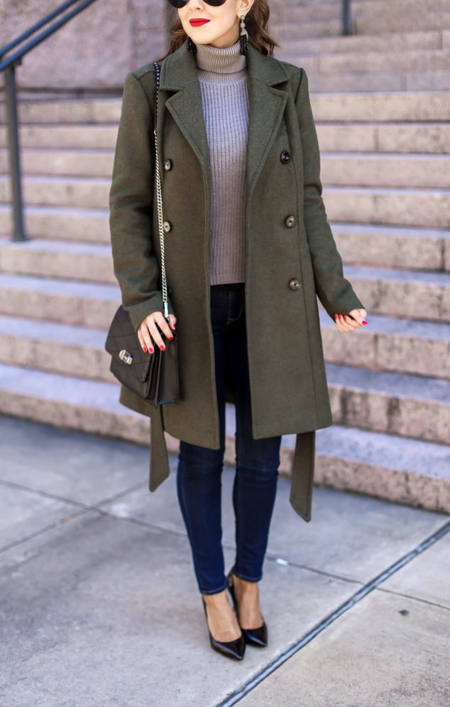 Beautiful Olive Belted Treanch Coat