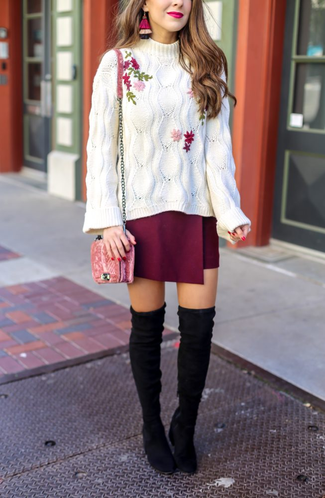 Embroidered Knit Sweater and Burgundy Skort