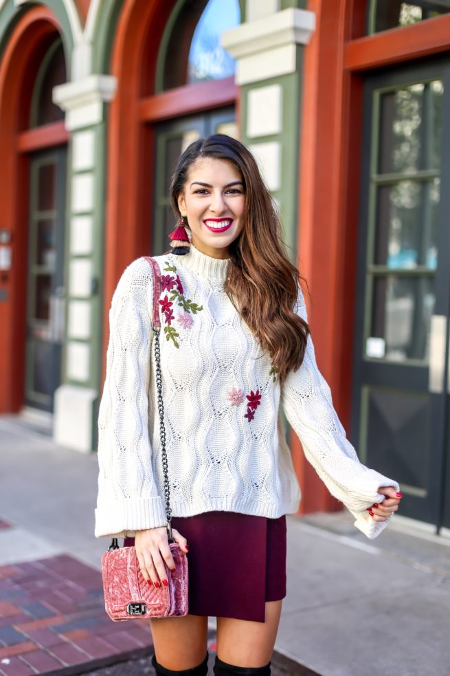 Embroidered Knit Sweater and Burgundy Skort Style