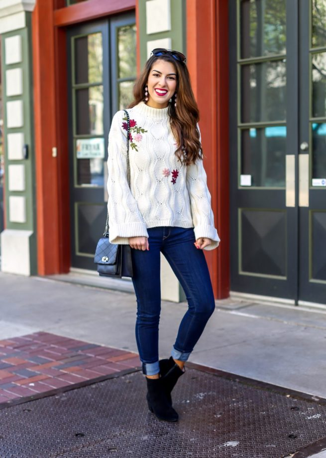 Embroidered Knit Sweater and Jeans