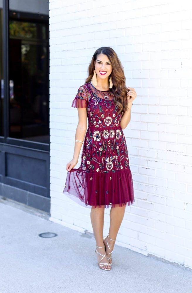 Gorgeous Floral Sequin Holiday Dress