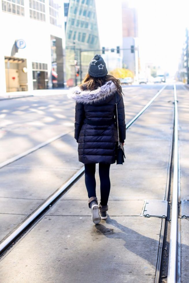 Classic Black Puffer Jakcet and Grey Sweater