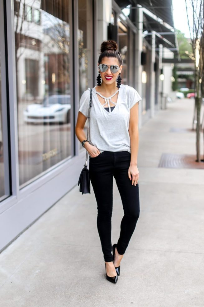 Classic Grey Strappy Tee and Black Denim Jeans