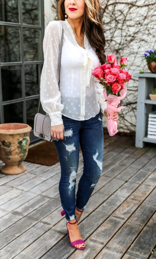 Ivory Tie Neck Blouse and Denim Jeans