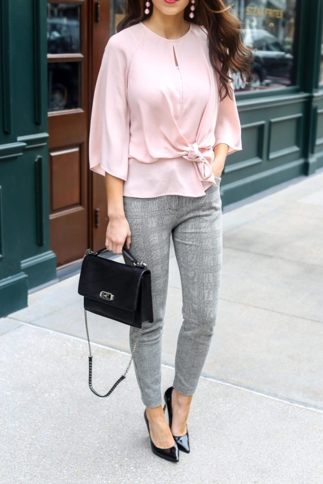 Pink Blouse and Grey Plaid Dress Pants for the Office