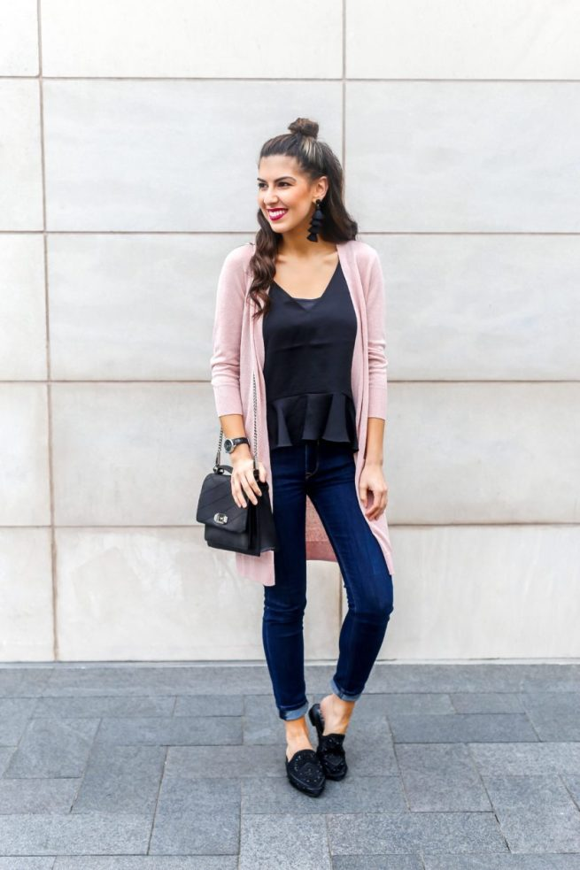 Pink Cardigan for Spring and Ruffle Hem Cami
