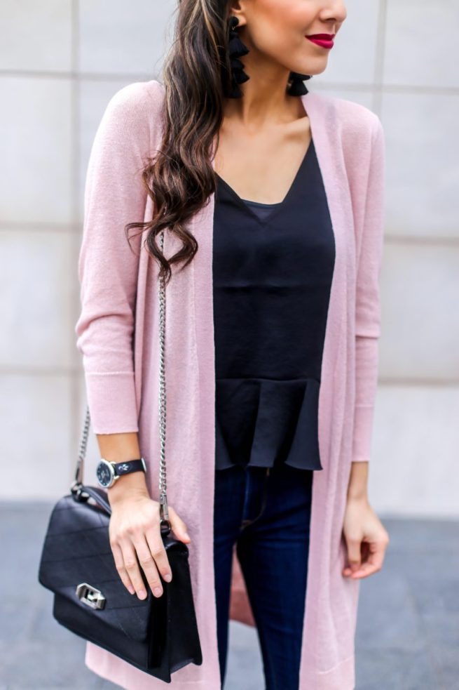 Pink Cardigan with a Ruffle Hem Ca