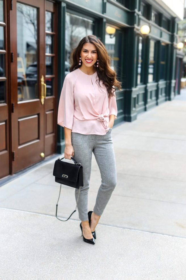 Pink Knot Front Tie Blouse and Dress Pants