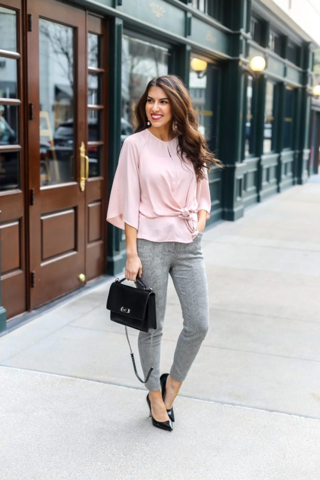 Pink Knot Front Tie Blouse
